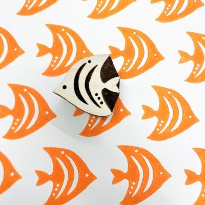 Indian Wooden Printing Block - Angel Fish