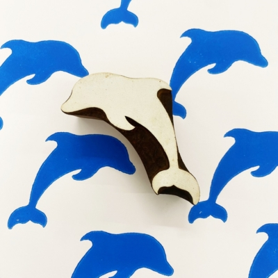 Indian Wooden Printing Block - Large Dolphin