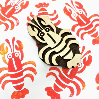 Indian Wooden Printing Block - Large Lobster
