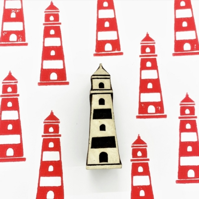 Indian Wooden Printing Block - Lighthouse