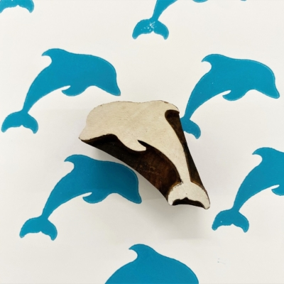 Indian Wooden Printing Block - Small Dolphin