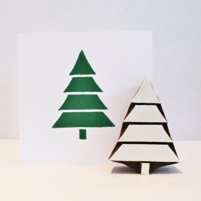 Indian Wooden Printing Block - 4 Tier Christmas Tree