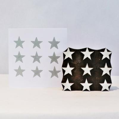 Indian Wooden Printing Block - 9 Stars