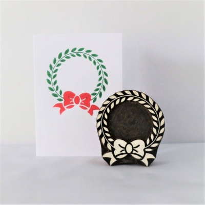 Indian Wooden Printing Block - Christmas Wreath & Bow