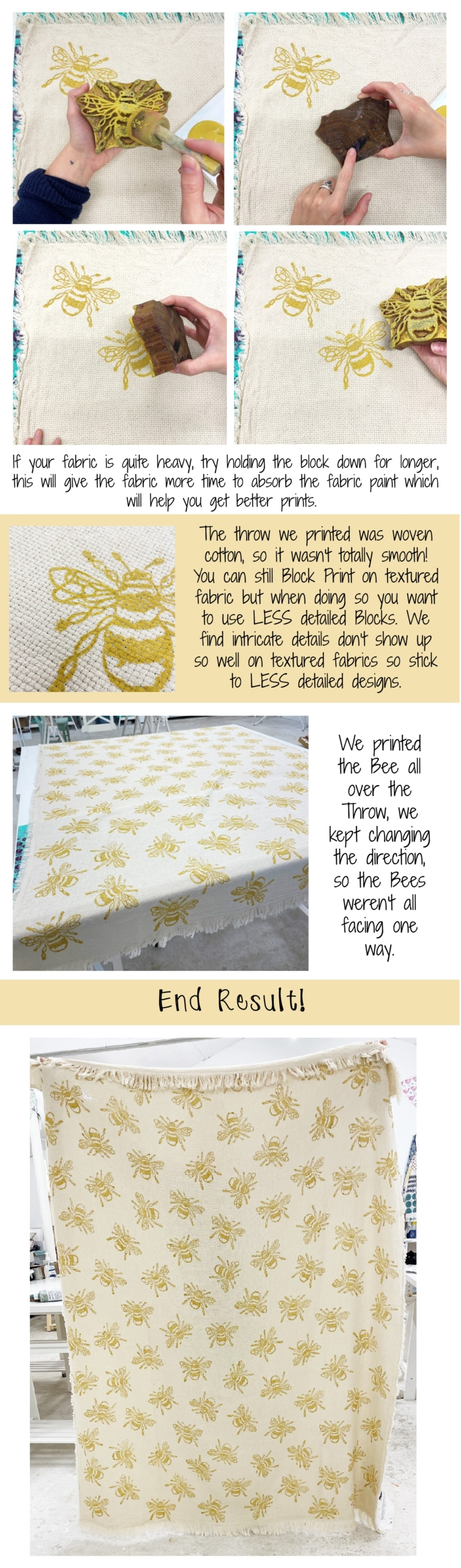 Block Printing Project- Bee Throw Part 2