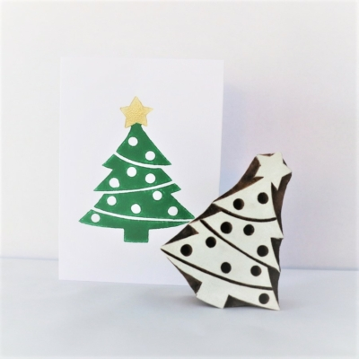 Indian Wooden Printing Block - Traditional Christmas Tree