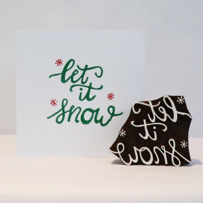 Indian Wooden Printing Block - Let It Snow with Stars