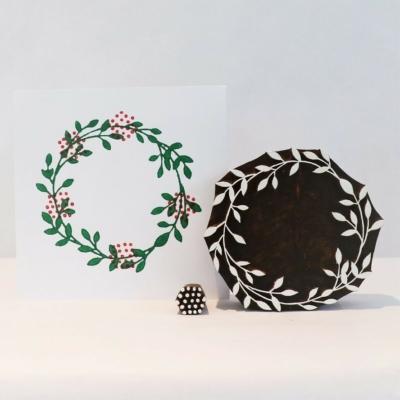 Indian Wooden Block Set - Wreath & Berries