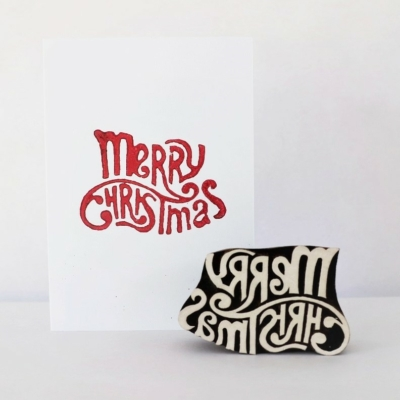 Indian Wooden Printing Block - Curly Merry Christmas