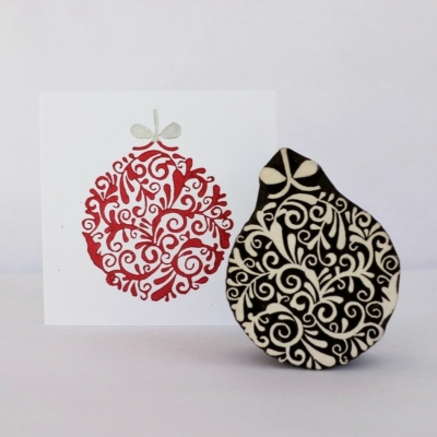 Indian Wooden Printing Block- Detailed Christmas Bauble