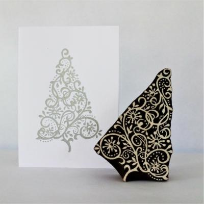 Indian Wooden Printing Block - Elegant Christmas Tree