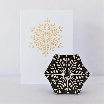 Indian Wooden Printing Block - Detailed Festive Snowflake