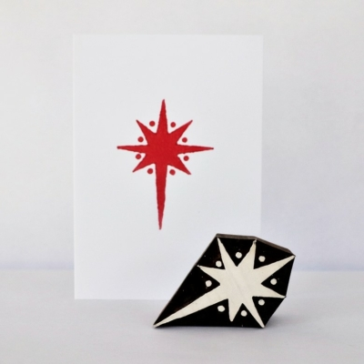 Indian Wooden Printing Block - Dotty Christmas Star
