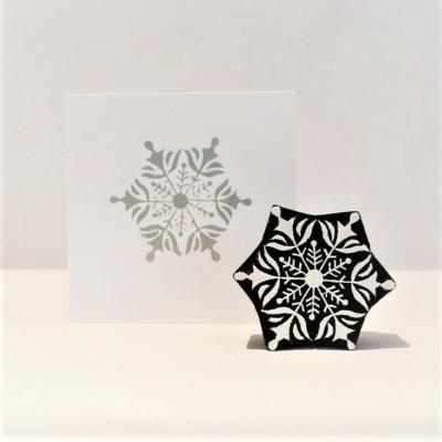 Indian Wooden Printing Block - Detailed Snowflake