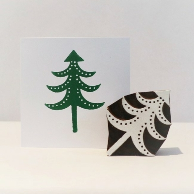 Indian Wooden Printing Block - Large Detailed Spotty Christmas Tree