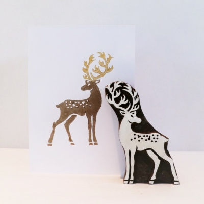 Indian Wooden Printing Block - Large Stag