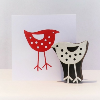 Indian Wooden Printing Block - Large Standing Bird