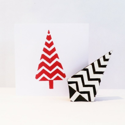 Indian Wooden Printing Block - Large Zig Zag Christmas Tree