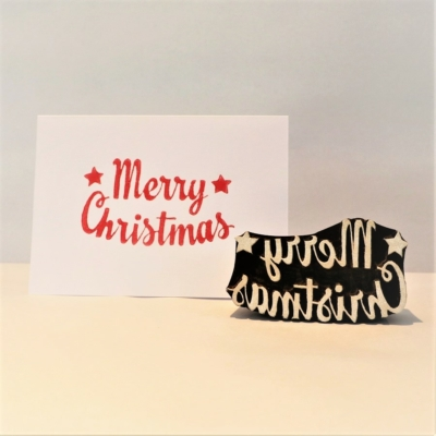 Indian Wooden Printing Block - Merry Christmas Text