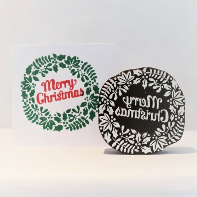 Indian Wooden Printing Block - Merry Christmas Wreath
