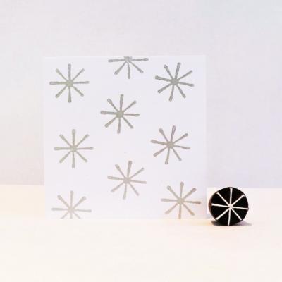 Indian Wooden Printing Block - Mini 8 Point Snowflake