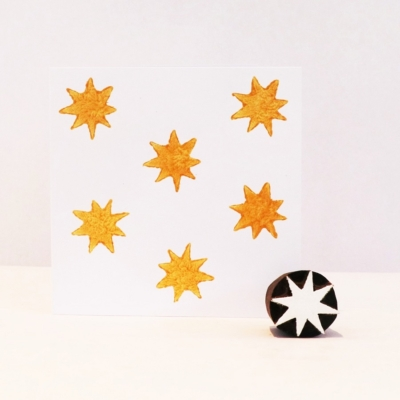 Indian Wooden Printing Block - Mini 8 Point Star