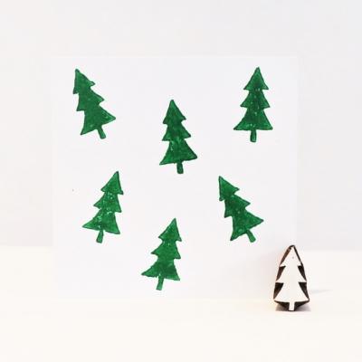 Indian Wooden Printing Block - Mini Christmas Tree 1
