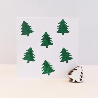 Indian Wooden Printing Block - Mini Christmas Tree 2