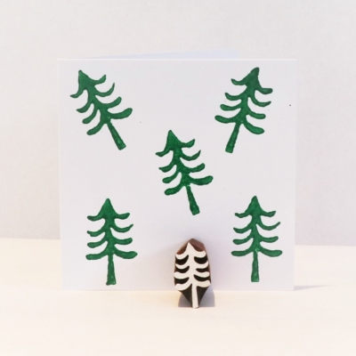 Indian Wooden Printing Block - Mini Christmas Tree 3