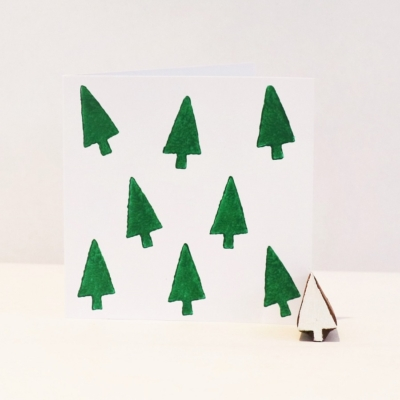 Indian Wooden Printing Block - Mini Christmas Tree 5
