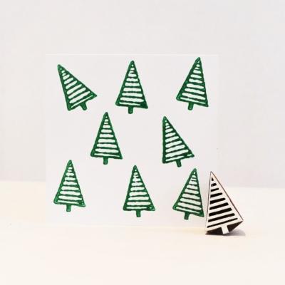 Indian Wooden Printing Block - Mini Stripy Christmas Tree
