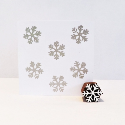 Indian Wooden Printing Block - Mini Detailed Snowflake