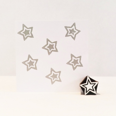 Indian Wooden Printing Block - Mini Double Star