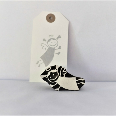 Indian Wooden Printing Block - Small Funky Christmas Angel