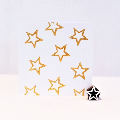 Indian Wooden Printing Block - Mini Outline Star