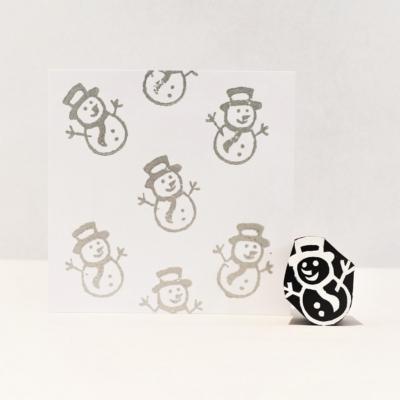 Indian Wooden Printing Block - Mini Snowman