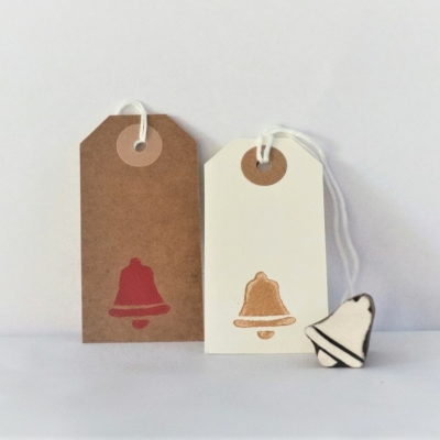Indian Wooden Printing Block - Mini Solid Christmas Bell