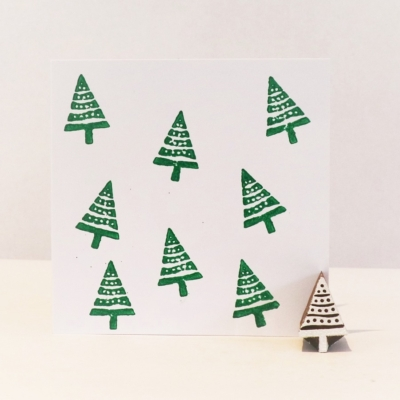 Indian Wooden Printing Block - Mini Spotty Christmas Tree