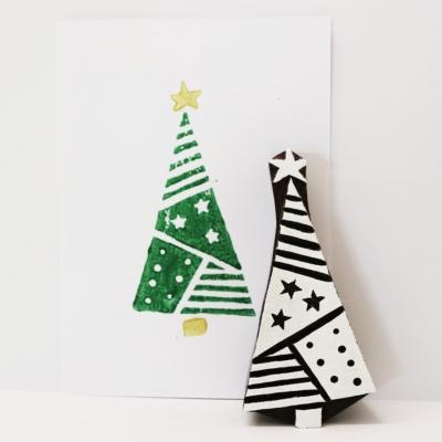 Patchwork Christmas Tree Printing Block