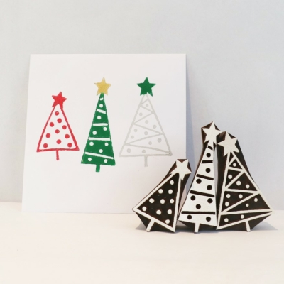 Set of 3 Patterned Christmas Trees Printing Blocks