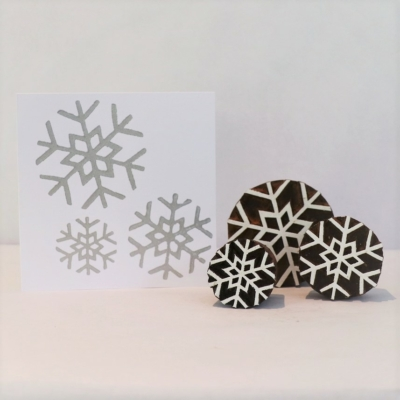 Indian Wooden Block Set - Simple Snowflakes