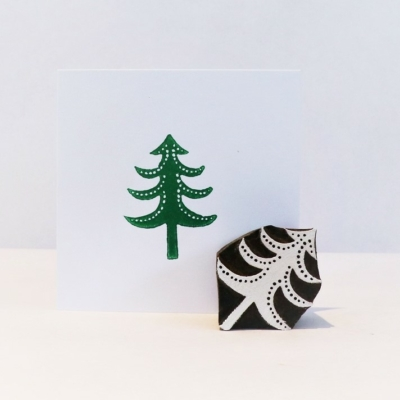 Indian Wooden Printing Block - Small Detailed Spotty Christmas Tree