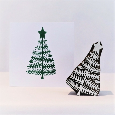 Indian Wooden Printing Block - Small Holly Leaf Christmas Tree