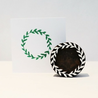 Indian Wooden Printing Block - Small Simple Wreath