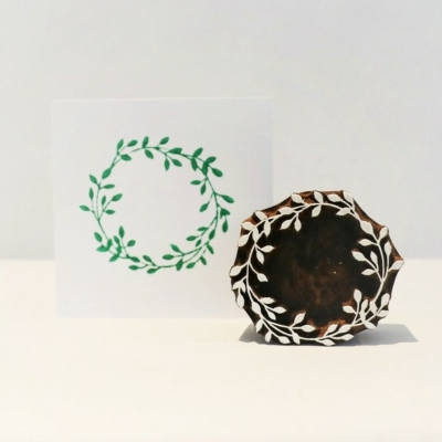 Indian Wooden Printing Block - Small Wreath