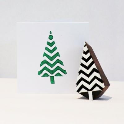 Indian Wooden Printing Block - Small Zig Zag Christmas Tree