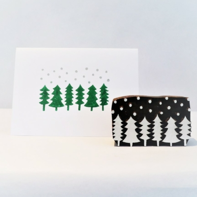 Indian Wooden Printing Block - Snowy Forest Scene