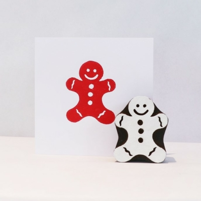 Indian Wooden Printing Block - Large Solid Gingerbread Man