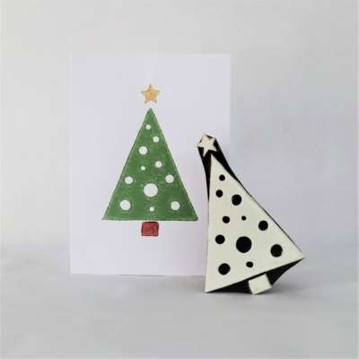 Indian Wooden Printing Block - Spotty Christmas Tree