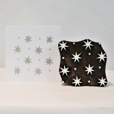 Indian Wooden Printing Block - Star & Dot Design